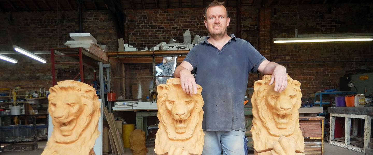 Photo: Steve Beesley with lion statues